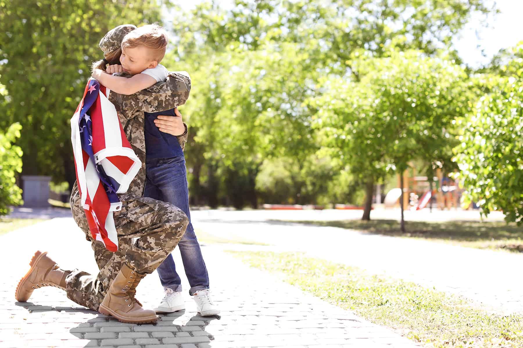 American Soldier Hugging Her Son VA Loan
