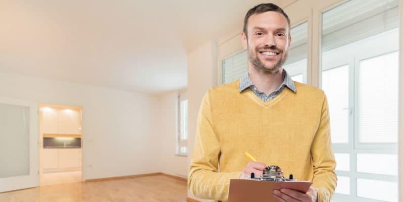 Man appraising home
