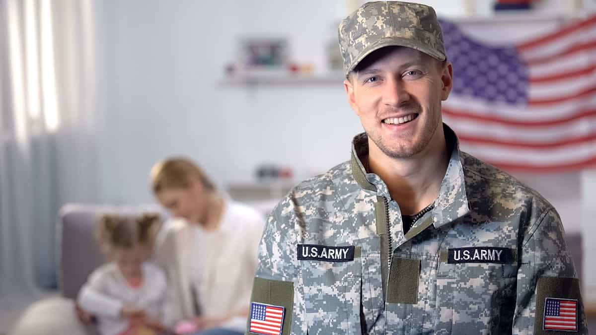 Happy Us Army Soldier Smiling New Home